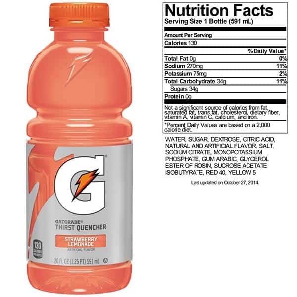 Calories In Gatorade